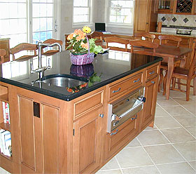 Built In Kitchen Island With Black Marble Top